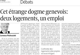 Cet étrange dogme genevois : deux logements, un emploi